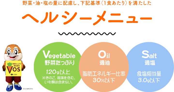 野菜・油・塩の量に配慮し、下記基準(1色あたり)を満たしたヘルシーメニューです。